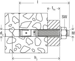 Metal 16x170 mm Bolt Anchor 16//50 fischer 45565 FBN II